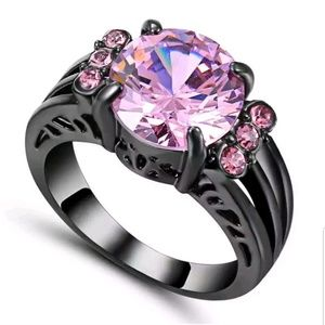 Size 9 Pink Sapphire Ring black Rhodium Plated